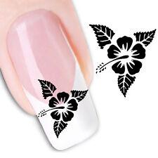 Nail Art de transferencia de agua Pegatina Adhesivos Negro Flores calcomanías (XF1437)