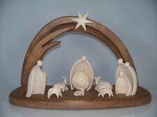 Weihnachtskrippe Holz geschnitzt: Stall + 11-tlg. Figuren Set 7,5 cm neu. Krippe