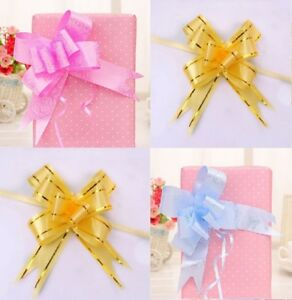 10 x Pull Bows 1.5cm x 35cm 15 COLOURS Floral Rose Ribbon Gift Bow Hearts