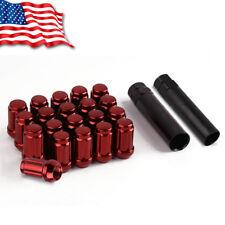 20 M12X1.5 Red Spline Tuner Racing Lug Nuts + 2 Keys for Honda Acura Chevy Ford