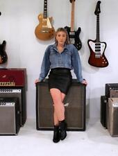 VINTAGE 90s ROCKER Black LEATHER High Waisted Mini Pencil Skirt AUS 8 10 XS S