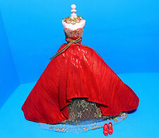 Barbie Doll  Holiday Fashion- Red Gown w/ Gold Lace Trim-Shoes-For Model Muse