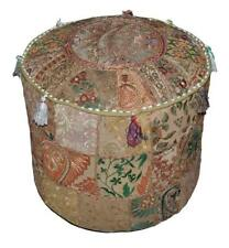 Indian Vintage Room Decor Kids Bean Bag Patchwork Footstool Ottoman Pouf Covers