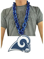 New NFL Los Angeles Rams BLUE Fan Chain Necklace Foam Magnet Made in USA