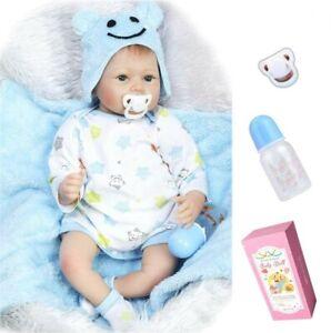 "22"" Lifelike Baby Dolls Handmade Soft Silicone Vinyl Realistic Newborn Boy Toy"