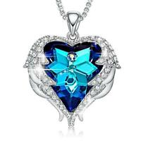 Silver Angel Wings Blue Heart Crystal Necklace Made with Swarovski Crystals
