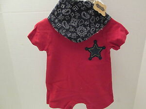 Mud Pie Sheriff Baby Outfit, Red 1-Piece with Blue Cotton Bib, NWT