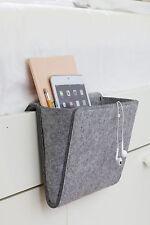 Bettkantentasche Betttasche, grauer Filz, praktischer Stauraum für Bücher, Handy