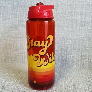 """Red Water Bottle 32oz """"Stay Wild"""" Camping Theme Hard BPA Free Plastic"""