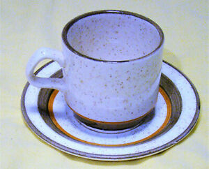"""""""Carrigaline"""" Pottery cup & saucer - beige and brown speckled design"""