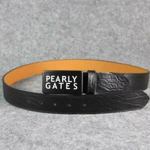 Golf Sport Pants Belt Classic Pearly Gates Word Plate Logo Style