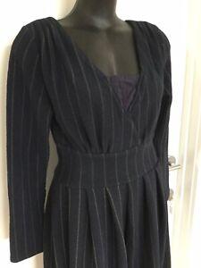 SIZE 12 SMART FLATTERING BLUE STRIPE WINTER DRESS BNWT