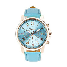 NEW Womens Ladies Watch Stainless Steel Case Faux Leather Bracelet Wrist Watches