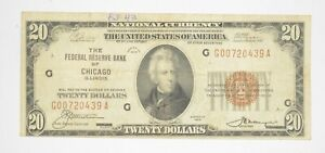 Rare 1929 $20 National Currency Chicago, IL Federal Reserve Bank Brown Seal *923