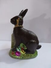 "Faux Chocolate Easter Bunny Rabbit with Colorful Easter Eggs 5.75"" New"