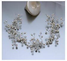 Freshwater Pearl Bridal Hair Accessory Wear Front Back or Side Luxe Vine UK