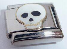 WHITE SKULL Italian Charm - Halloween Goth Spooky 9mm fits Classic Bracelets E16