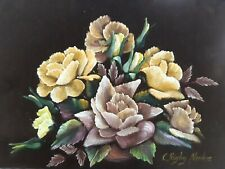 Vintage Retro Original Framed Velvet Flower Painting Artwork 70's Rigby Noakes