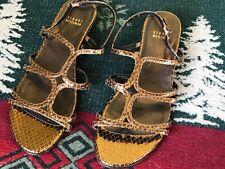 9.5 M Stuart Weitzman Sandals Gold Strappy Reptile Flats