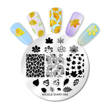 NICOLE DIARY Nail Art Stamping Plate Leaves Round Nail Stamp Template Overprint