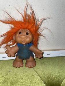 Vintage Troll Doll 5 Inches Tall DAM DEIGN. Orange hair made in Denmark