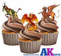 12 X Mythical Creature Griffin Phoenix Mix EDIBLE WAFER CAKE TOPPERS STAND UPS