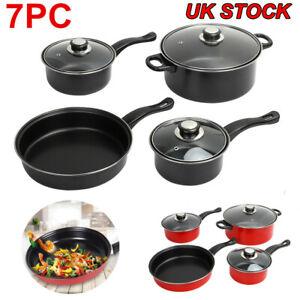 7PC Cookware Set Pan Pot Carbon Steel Non Stick Saucepan With Glass Lids Kitchen