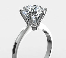 4.0 CARAT 6 PRONG ROUND CUT DIAMOND E VS2 18 K WHITE GOLD RING SPECIAL OCCASION