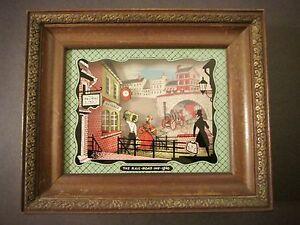 "Delightful Mid-Century ""THE RAIL-ROAD INN 1840"" DIORAMA ~ 3D Painting On Glass"