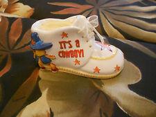 "Wind Up Musical It'S A Cowboy Baby Shoe- Michel/Figi Very Good-4 3/4""X3""X 2 1/2'"