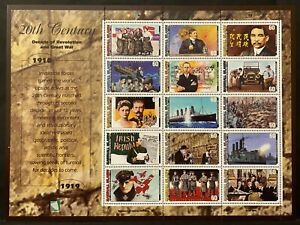 20TH CENTURY SHEET 15 stamps 1910-19, MARSHALL ISLANDS 1997 Postage $0.60 MNH