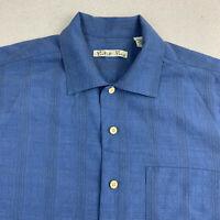 Batick Bay Button Up Shirt Mens Medium Blue Short Sleeve Casual