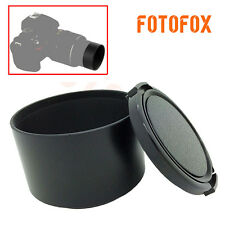 77mm Black Metal Screw-in Tele Lens Hood For Canon Nikon Tamron + 77mm Lens Cap
