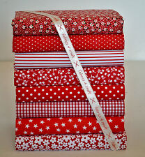 RED POLY COTTON FABRIC BUNDLE 25cm SQUARE REMNANTS GINGHAM SPOTS STAR FLORAL