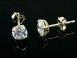 585 Gold  Ohrstecker  mit 4 Krappen 1 Paar 5 mm Grösse mit  Zirkonia