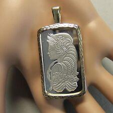 18ct gold New lady luck diamond cut bullion pendant with 20g fine silver ingot