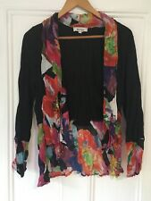 Revue Size 12 black long sleeve cardigan with contrast multicoloured floral pane