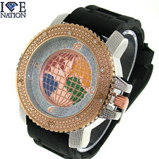 New Ice Nation Iced Out Elegant Style Pave Look Silicone Wrist Band Watch W1907