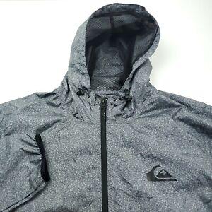 Quiksilver Hooded Windbreaker Jacket Mens Size XL Gray