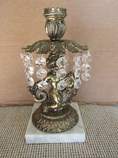 Old Italian Brass & Crystal Prisms Candle Holder Cherub & Fish on Marble Base