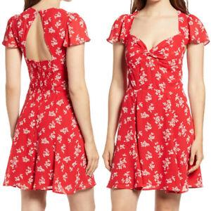 NEW Reformation Kenni Dress Summer Red Floral Flutter Sweetheart Size 12 $198