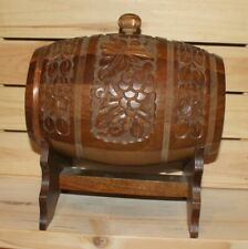 Vintage hand made folk carved floral wood brandy keg with stand
