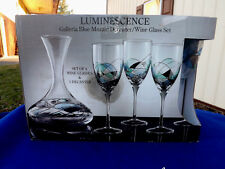 Luminescence Crystal Blue Mozaic Wine Decanter with 4 Goblets NIB
