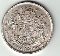 CANADA 1943 50 CENTS HALF DOLLAR WITH DIE BREAK KING GEORGE VI .800 SILVER COIN