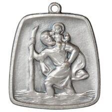Heiliger Sankt St. Christophorus 3D Relief Metall Anhänger Talisman 28 x 26 mm