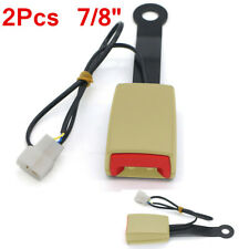 2x 7/8'' Car Safety Seat Belt Buckle Connector Plug Kit W/Warning Cable Beige