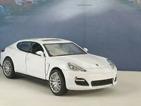 PORSCHE PANAMERA TURBO WHITE 1.39 DIECAST MODEL TOY CAR OPEN DOORS PULL BACK NEW