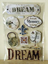 Card Topper Set ~ Die Cuts Dream, Memory, Forever Time Lock & Key NEW