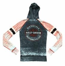 Harley Davidson Motorcycles Jacket Full Zip Gray Orange Logo Bling Worn X-Small