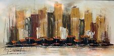 Large Vintage Abstract Cityscape Nautical Painting Mid Century Modern Art Signed